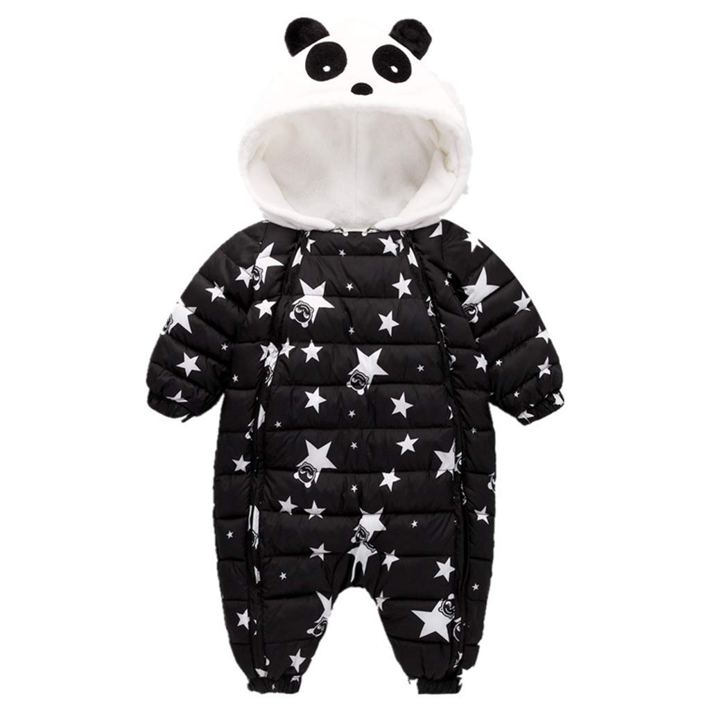 Baby Snowsuit Hoodie Romper Winter Bodysuit Unisex Sleepsuit Thicken Jumpsuit Cute Panda Zipper Outwear, Black Vine Trading Co. Ltd K180807PF00404V