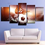 Abstract Canvas Painting Wall Art Canvas Painting 5 Piece Hd Print Football Game Framed Modular Posters And Prints Canvas Art Home Decor With Framed
