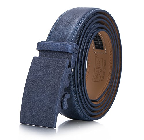 Marino Men's Genuine Leather Ratchet Dress Belt With Automatic Buckle, Enclosed in an Elegant Gift Box - Navy Blue - Style 160 - Adjustable from 28
