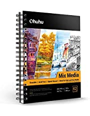 """Mix Media Pad, Ohuhu 10""""×7.6"""" Mixed Media Art Sketchbook, 120 LB/200 GSM Heavyweight Papers 62 Sheets/124 Pages, Spiral Bound Mixed Media Paper Pad for Acrylic, Painting, Back to School"""