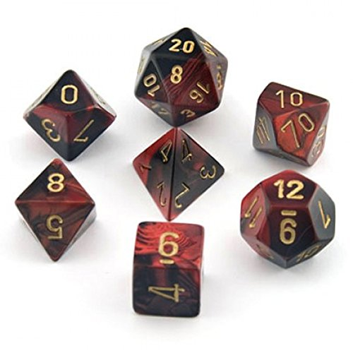 - Chessex Gemini Black And Red With Gold Polyhedral 7 Dice Set