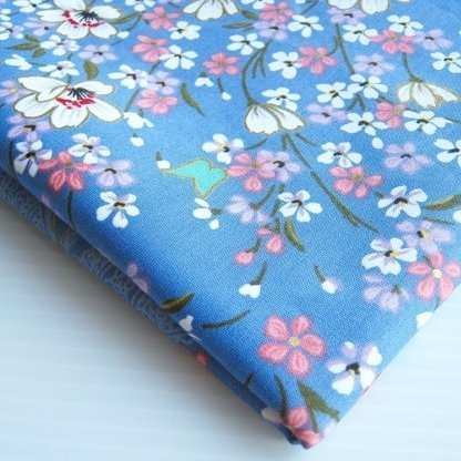 Asian Janpanese Kimono Fabric Lovely Blue White Pink Sweet Sakura Butterfly 36 by 36-Inch Wide (1 Yard) (FBA-KM003)