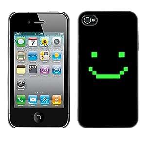 FECELL CITY // Duro Aluminio Pegatina PC Caso decorativo Funda Carcasa de Protección para Apple Iphone 4 / 4S // Computer Game Art Smiley Emoticon