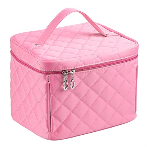 EN'DA big size Nylon Cosmetic bag with quality zipper single layer travel Makeup bags (Pink)