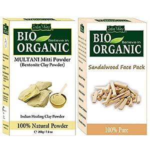 INDUS VALLEY Bio Organic Combo of Multani Mitti Powder & Sandalwood Face Pack (200g + 200g=400g)