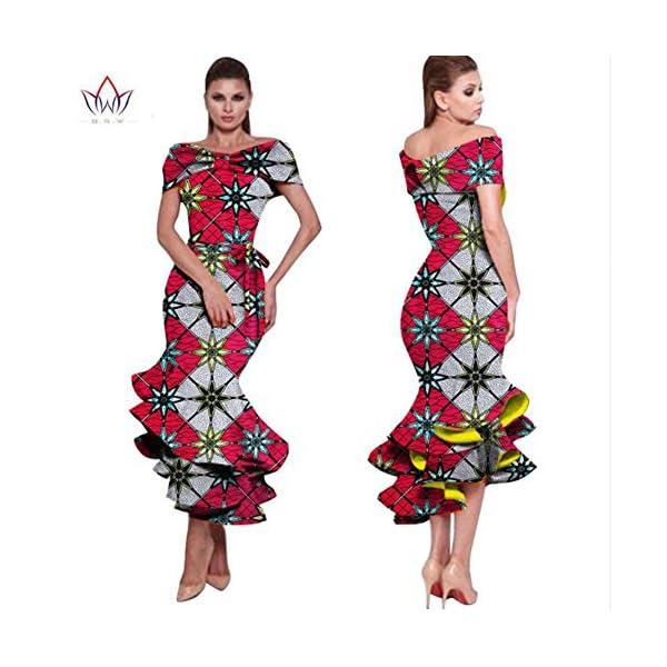 f02d25e7bcb9 Women s African Print Ruffles Dress Off Shoulder Mermaid Formal Prom ...