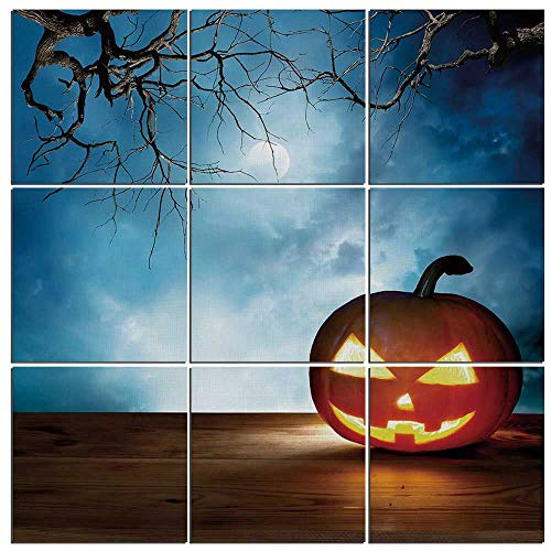 iPrint Modern 9-Piece Mural of Halloween on Wood,Traditional Celebration Icon Pumpkin on Wooden Board Fantasy Midnight Sky Trees,36