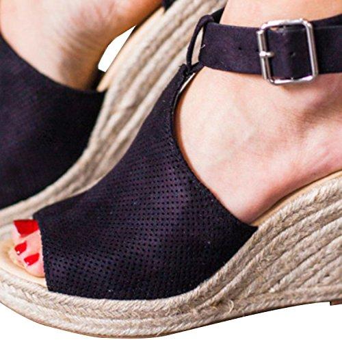 Chuanqi Kvinners Uformelle Plattform Sandaler Peep Toes Ankelen Strappy  Flat Sommer Sko Svart ...