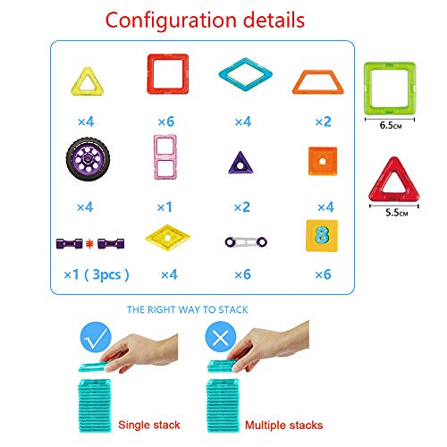 xinbida Magnetic Blocks Set-Magnetic Tiles Building-Educational Toys for Kids-3D Constrtuction Modle-Best Gift for Toddler (46PCS) by xinbida (Image #3)