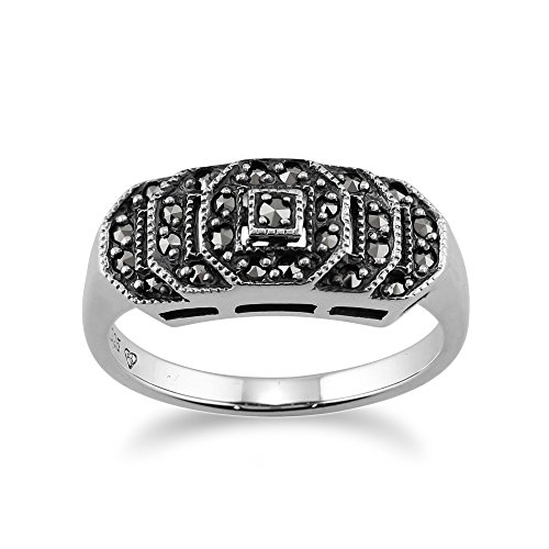 Art Deco Marcasite Ring - 925 Sterling Silver Marcasite Art Deco Style Ring