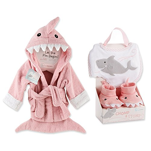 Baby Aspen Shark Gift Bundle with Shark Chomp & Stomp and Shark Robe - PINK