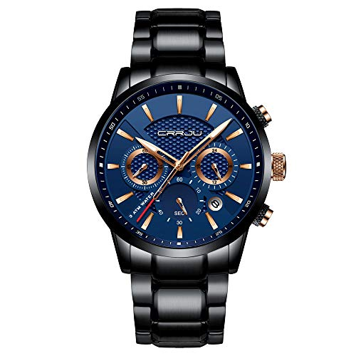 CRRJU Brand Men's Watch Business Casual Chronograph Quartz Waterproof Wristwatch Black Stainless Steel Strap