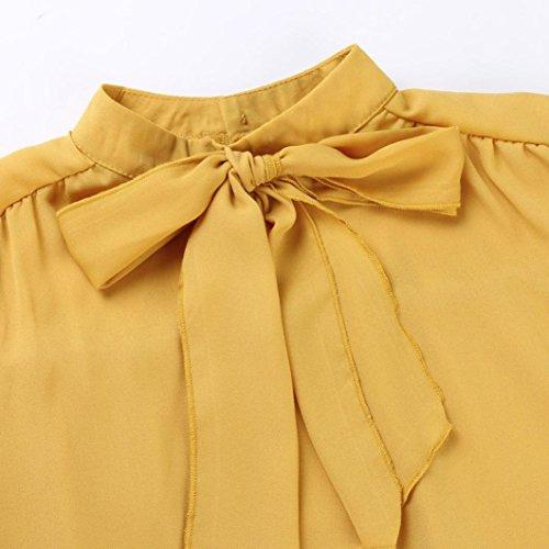 Femmes soie Tops Jaune Casual Solid manches Blouse de Bow longues en mousseline BZBCqnwr