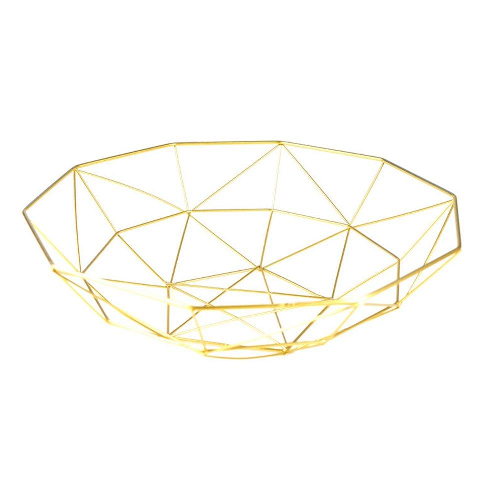 iBaste Obstkorb Metall Brotkorb Rund Ablaufkorb 40cmx11cm Dekoschale Gem/üsekorb Mehrzweckkorb Nordischer Stil-Gold