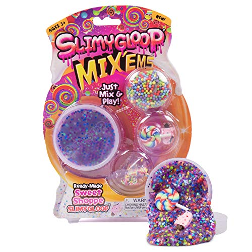 (Slimygloop Mix'Ems by Horizon Group USA- Sweet Shoppe, Mix & Create Your Own Purple & Pink Glitter Gooey, Putty, Slime with Sprinkles, Ice Cream & Lollipop Figurine Add Ins, Multicolor )