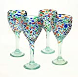 Set of 4, Mexican Recycled Wine Glasses, Multi-Color Bumpy Confetti-12 ozs