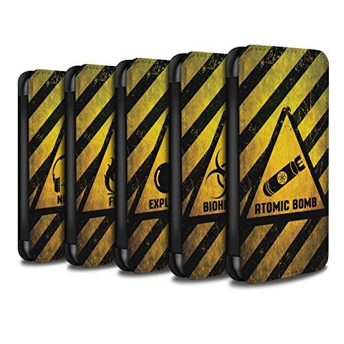 Stuff4 Coque/Etui/Housse Cuir PU Case/Cover pour Apple iPhone 8 / Pack 10pcs Design / Signes de Danger Collection