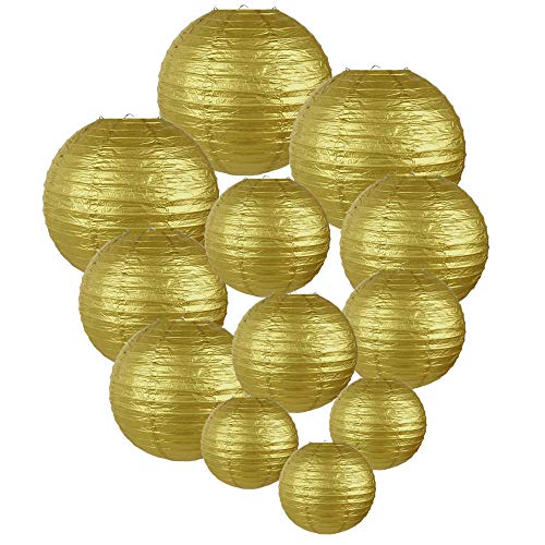 Just Artifacts Decorative Round Chinese Paper Lanterns 12pcs Assorted Sizes (Color: Gold)]()