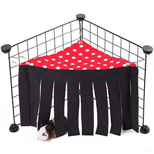DIDIPET Guinea Pig Hideaway Corner Fleece Forest Hideout for Ferrets Chinchillas Hedgehogs Dwarf Rabbits and Other Small Pets – Accessories and Toys (Red)