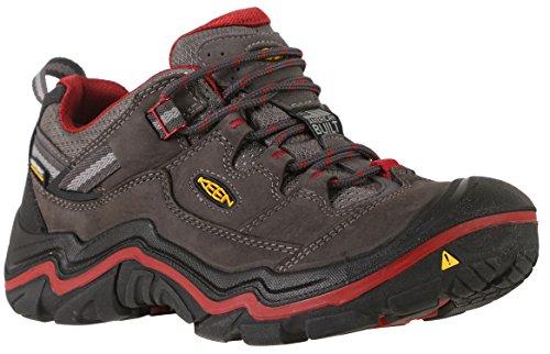 Image of KEEN Women's Durand Low Waterproof Hiking Shoe, Magnet/Red Dahlia, 6.5 M US