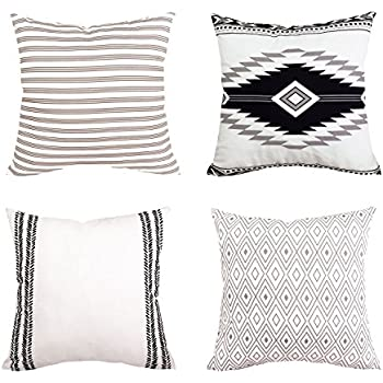 BLEUM CADE Pillow Cover Cushion Cover Modern Decorative Throw Pillow Case for Sofa Couch Bed and Car Set Home Decor 4 Packs (Simple Strings, 18