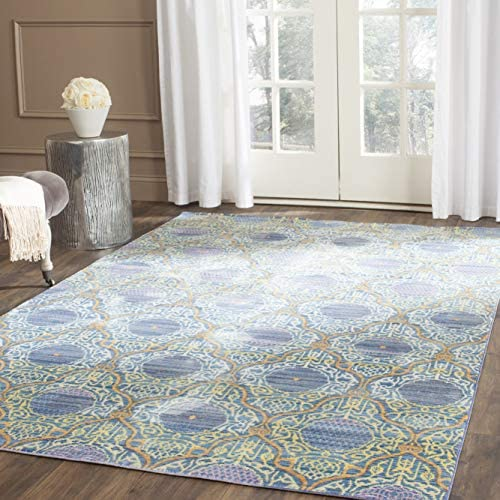 Safavieh Valencia Collection VAL106L Lavender and Gold Vintage Distressed Silky Polyester Area Rug 9 x 12