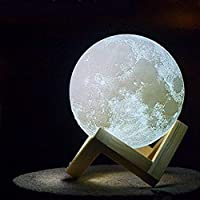 Moon Lamp 3D Print Moon Light, Warm and Cool Lighting,Rechargeable Home Decorative Night Light 15cm