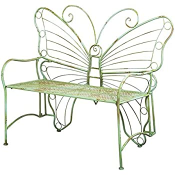 Beau Gifted Living Whimsical Verdi Butterfly Metal Bench