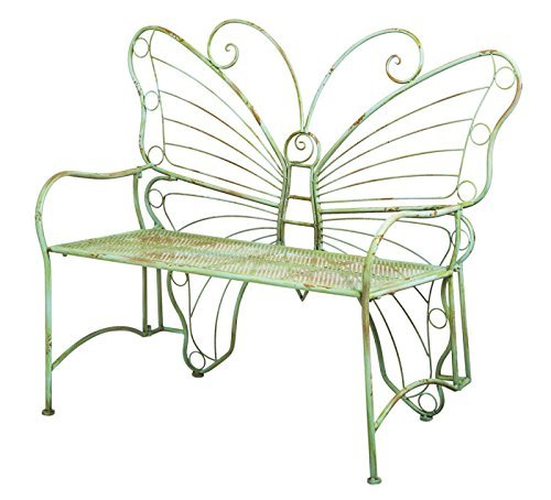 Gifted Living Whimsical Verdi Butterfly Metal Bench For Sale
