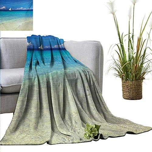 "AndyTours Flannel Throw Blanket,Nautical,Exotic Tropic Beach in Philippines Island Horizon Summer Paradise Concept,Turquoise Cream,for Bed & Couch Sofa Easy Care 70""x90"""