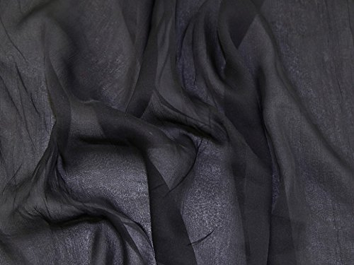 Pure Silk Crinkle Chiffon Dress Fabric Black - per metre