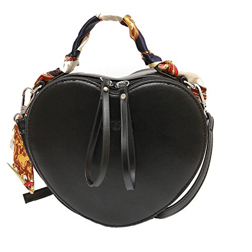 Elfjoy Women's Fashion Heart-Shaped PU Leather Handbag Crossbody Shoulder Bag wiht Silk Ribbon (Black)