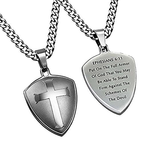 (Spirit & Truth Stainless Steel Cross Shield Necklace Armor of God Stainless Steel Chain Ephesians 6:11)