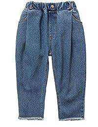 Kidscool Space Big Girls Loose Legs Elastic Waist Raw Edge Jeans