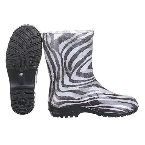 Ital-Design - Botas de Caucho para mujer Gris - Grau Weiß 01