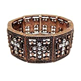 KIS-Jewelry Crystal Cross Stretch Bracelet, Copper - This Trendy Bracelet Has 9 Clear Crystal Crosses with Antiquedd Copper - The Perfect Faith Statement Gift