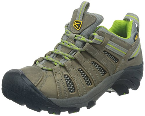 KEEN Women's Voyageur Hiking Shoe, Neutral Gray/Lime Green, 9.5 B - Medium