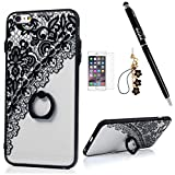 "Image of Badalink iPhone 6S/6 Plus Case (5.5"") 360 Degree Rotating Ring Holder Kickstand Shockproof TPU Bumper Frame + PC Back Shell Black Print Slim-Fit Protective Cover for iPhone 6S/6 Plus - Pattern 4"