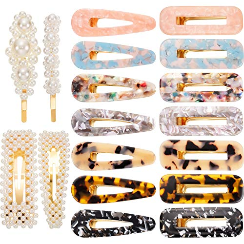 18 Pieces Acrylic Resin Hair Clips Pearl Hair Barrettes Metal Alloy Hairpins for Women Girls Wedding Hair Accessories Daily Wearing