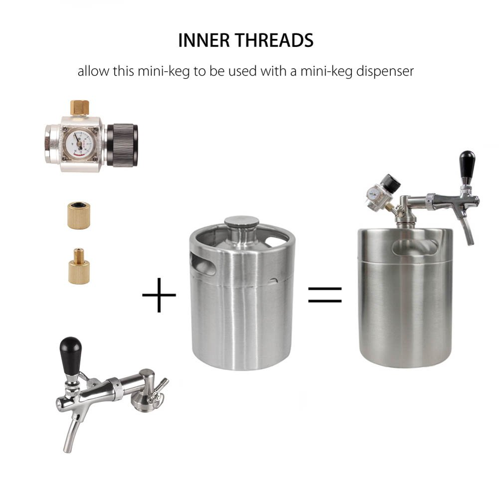 HAVEGET 5L Min Beer Keg for Home Brew Beer Dispenser System CO2 Adjustable draft Beer Faucet with stainless steel Beer barrels Regulator by HG (Image #4)