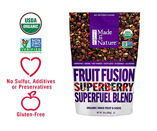 - Made in Nature Organic Super Snacks, Super Berry Fusion, A Delicous Blend of Tart Cherries, Blueberries, Goji Berries, Cranberries, and Crunchy Pepita Seeds 24 Ounce