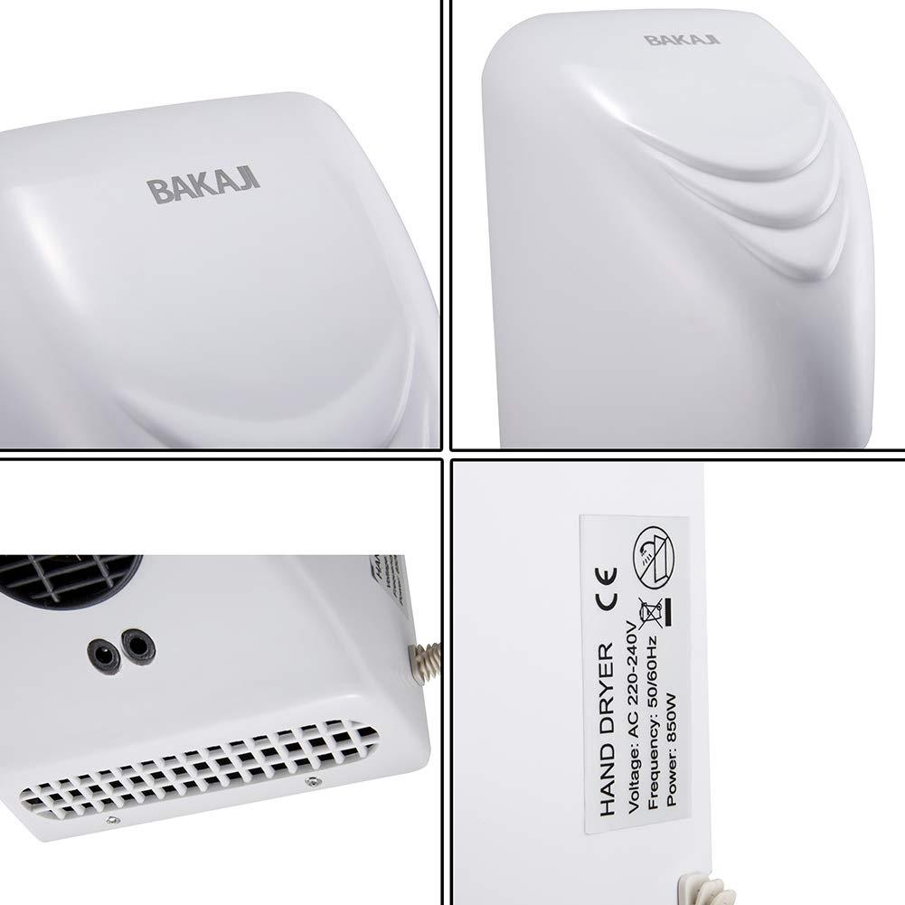 Toallas autom/áticas el/éctricas para Hotel Secador de Manos de Aire Caliente de Pared BAKAJI Ba/ño con Sensor fotoc/élula
