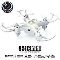 MKLOT FQ777-951C WiFi Pocket Drone Mini RC Quadcopter FPV 0.3MP Camera 4CH 6-Axis Gyro w/ Switchable Controller RTF One Key Return Helicopter Best Gift for Boys Kids Children