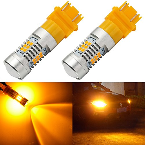ENDPAGE 3157 3156 3057 3056 LED Bulb 2-pack, Amber Yellow, Extremely Bright, 21-SMD with Projector Lens, 12-24V, Works as Turn Signal Blinker Lights
