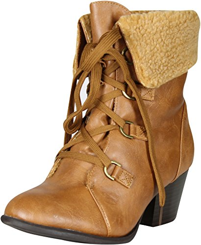 - Refresh Women's Lola-02 Lace Up Shearling Bootie,Tan,8