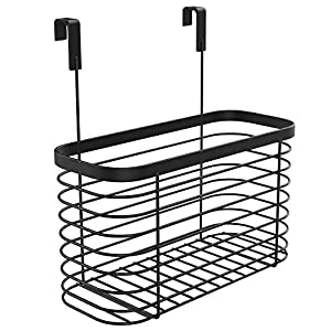 Lilimpact Metal Over the Cabinet Kitchen Storage Organizer Basket for Kitchen Pantry, Cleaning Supplies (Chrome)
