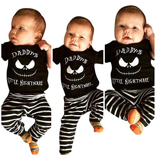 Halloween Costumes for Toddler Girl Boys Devil Pants Tops and Stripe Pants Outfits Set Black