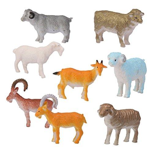 (ROSENICE Animal Figures 8pcs Plastic Mini Farm Sheep Goat Animal Toys Set)