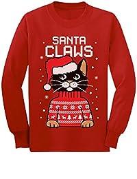 TeeStars - Santa Claws Cat Ugly Christmas Sweater Youth Kids Long Sleeve T-Shirt