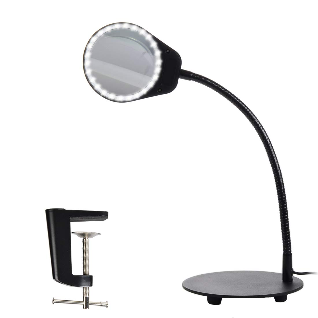 Tomsoo Dimmable 5X Magnifying Lamp - 2 in 1 Magnifier Desk Lamp LED Reading Light With Utility Clamp, Magnifying Glass Lens With Light, Task Lamp for Reading, Crafts, Hobbies, Repair, Workbench, White TS-180523-W